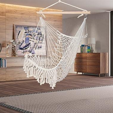 LLHW Rope Sling Garden Swing Seat with Tassel, for Indoor Outdoor Bedroom, Patio, Yard,Deck (Color : Beige)