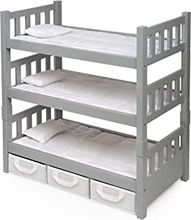 Badger Basket 1-2-3 Convertible Doll Bunk Bed (fits American Girl dolls), Gray/White