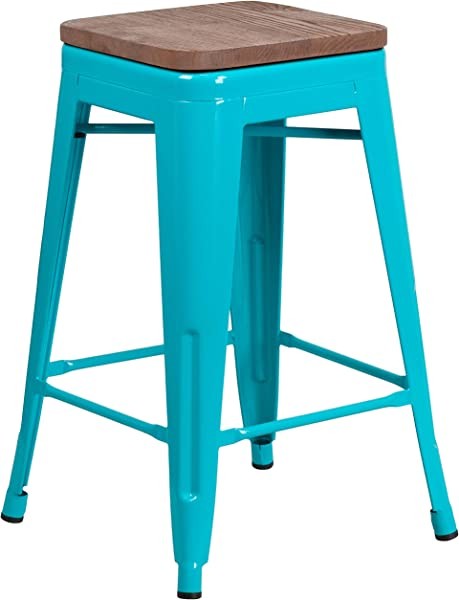 闪存家具 24 高露背水晶蒂尔蓝专柜高凳子方形实木座椅