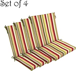 "Comfort Classics Inc. Set of 4 Indoor/Outdoor Dining Chair Cushion 20"" x 44"" x 3.5"" in Polyester Multi Striped"