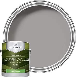 Coronado Tough Walls Interior Acrylic Paint & Primer, Fine Pewter (C-5344), Semi-Gloss,1 Gallon