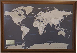Push Pin Travel Maps Personalized Earth Toned World with Brown Frame and Pins 24 x 36