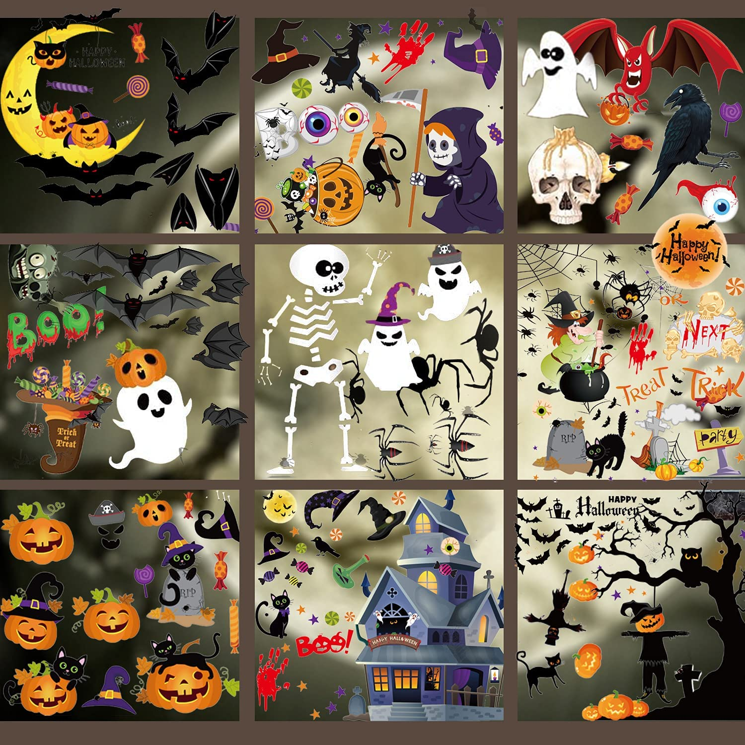 216PCS Halloween Window Clings Decoration Sale Special Price Double-Side Interior R Genuine