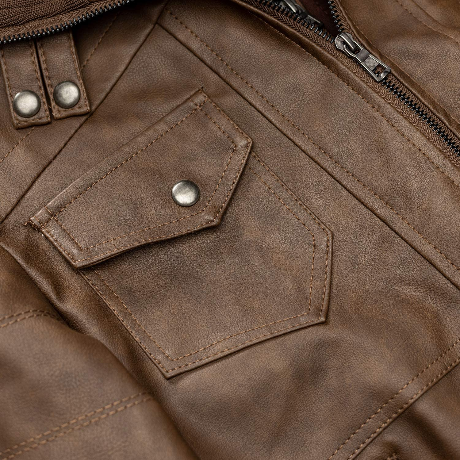 WULFUL Mens Vintage Motorcycle Faux Leather Jacket Outwear Winter Jackets with Removable Hood