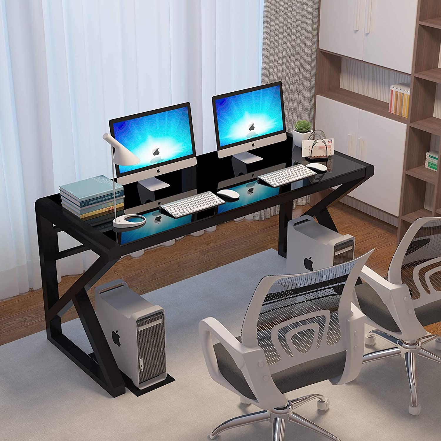 IPKIG Tempered Glass Computer shop Desk To with Metal Ranking TOP4 Frame and