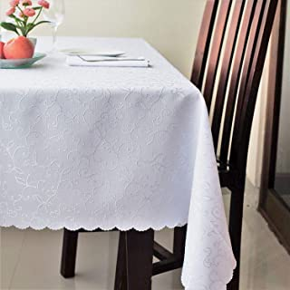 Stain Resistant Turkish White Tablecloth Polyester Table Cover Rectangle Square Round Washes Easily Non Iron - Thanksgiving Christmas Dinner Wedding New Year eve Gift (WHITE, Rectangle 60