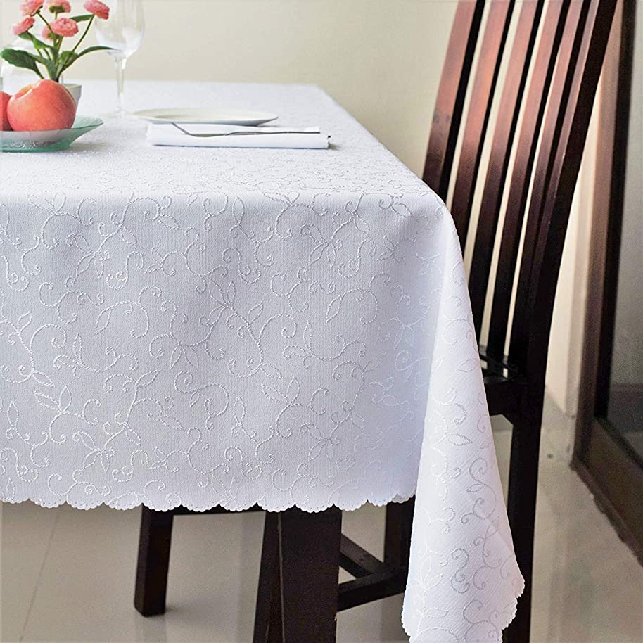 Stain Resistant Turkish White Tablecloth Polyester Table Cover - Rectangular Square Round Washes Easily Non Iron - Thanksgiving Christmas Dinner Wedding New Year Eve Gift (WHITE, Square 52