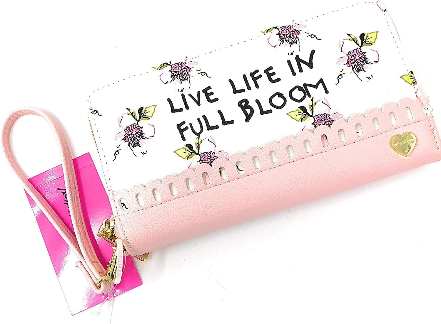 Betsey Johnson Cream Floral  Live Life in full Bloom  Zip Around Wallet   8 X 4.5 IN