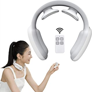 Intelligent Neck Massager with Heat - Deep Tissue Massager for Neck Pain Relief, 3 Modes 15 Speeds Ergonomic Handheld Massager, Electric Pulse Neck Massage for Women and Men (White)