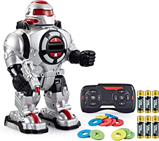 Think Gizmos Voice Recording RoboShooter Remote Control Robot for Boys and Girls Aged 5 6 7 8 9 and Over – Toy Robot for Kids with Lights and Sounds – RC Robot Fires Disks, Dancing and Talks TG542-VR