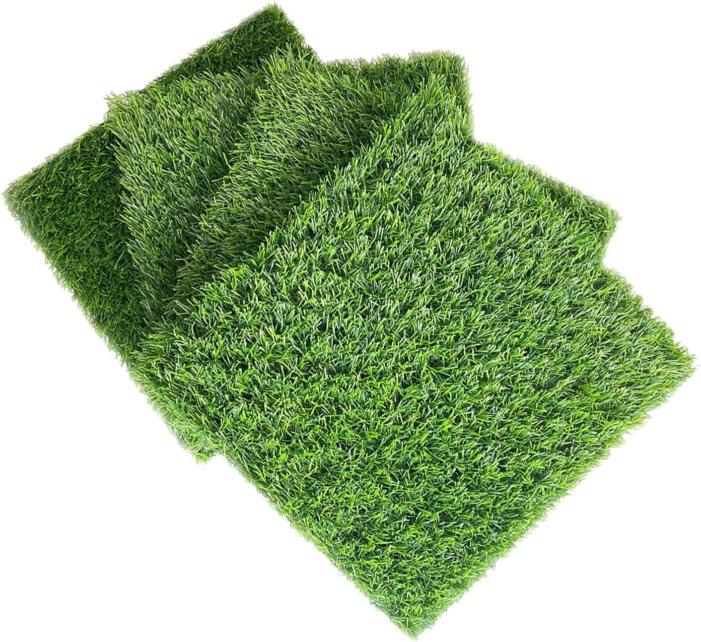 LVGADR Artificial Grass , Professional Outdoor Dog Changing Mat, Professional Outdoor Dog Grass Mat Realistic Artificial Turf Terrace Rug, Interlockable DIY Square Mat, for Courtyard, Garden.(4pack)