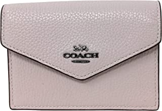 Coach Polished Pebbled Envelope Card Case Iced Pink F68395