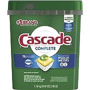 Cascade 컴플리트 식기 세척기 포드, Actionpacs 식기 세척기 세제, 레몬 향, 78개,