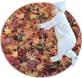 Naturblad, barn rund matta polyester överkast matta mjuk pedagogisk tvättbar matta barnkammare tipi tält lekmatta