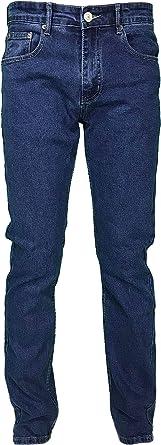 Jeans Uomo 5 Tasche Denim Regular Fit Gamba Dritta Elasticizzato Vita Alta