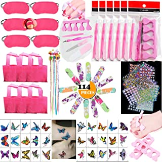 114PCS Girls Spa Party Supplies Favors for Spa Treatment, Multiple Spa Kit w/Spa Mask Bag Colored Hair Extension Mixed Nai...