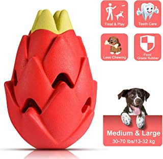 VISSON Dog Chew Toys for Aggressive Chewers Medium Large Breed,Tough Dog Toys for Medium Large Dogs,Nearly Indestructible Dog Dental Toys,Interactive Treat Toys for Dogs-Pitaya
