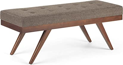 Simpli Home AXCOT-292-MBR Pierce 48 inch Wide Mid Century Modern Rectangle Ottoman Bench in Mink Brown Tweed Fabric