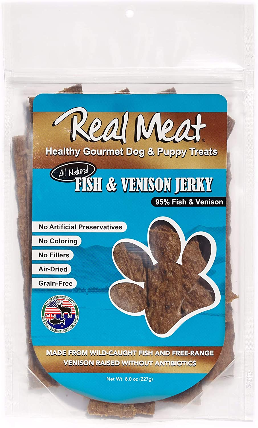Max Ranking TOP7 66% OFF The Real Meat Company 828034 Dog Strips Jerky Fish Venison Treat