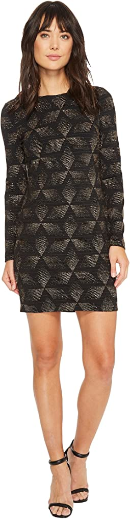 Novelty Knit Long Sleeve Sheath Dress