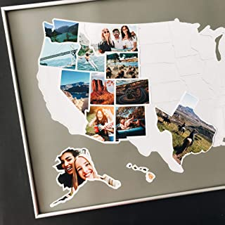 USA Photo Map - 50 States Travel Map - Fits 24 x 36 in Frames - Made from Flexible Plastic