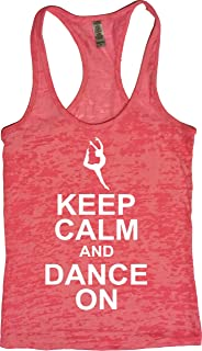 Womens Dance Tank - Keep Calm Dance On - Zumba Workout Burnout Tops