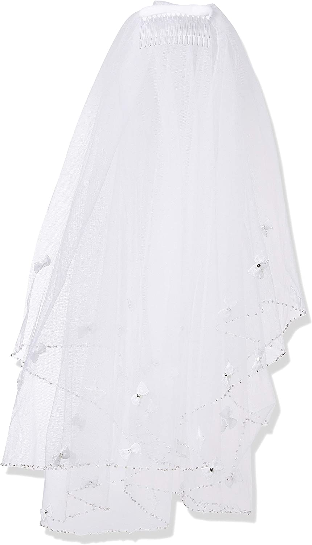 Pretty Me, USA Girls' White Flower Pearl Rhinestone Head Wreath Communion Veil 24