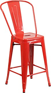 Flash Furniture 24'' High Red Metal Indoor-Outdoor Counter Height Stool with Back