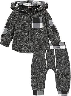 KONIGHT Kids Toddler Baby Boys Girls Fall Clothes Outfit Winter Long Sleeve Plaid Pocket Hoodie Sweatshirt Jackets Shirt+Pants Set