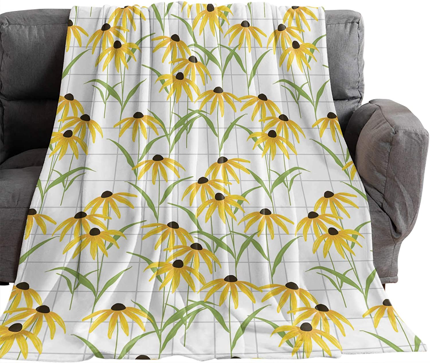 Flannel Fleece Throw Be super welcome Blanket for Daisy L Couch Watercolor OFFer Yellow