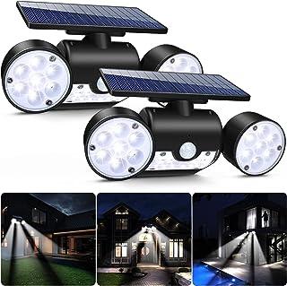 Luz Solar Exterior, Ultra Potente LED Foco Solar con Sensor de Movimiento Doble Cabeza IP65 Impermeable 360 ° Ajustable Lámpara Solar de Seguridad para Frente Puerta Yarda Jardín Garaje (2Pcs)
