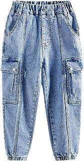 ZRFNFMA Ropa de niños, Leggings Estilo Big Boy, Pantalones Vaqueros para niños, Primavera y Pantalones Azules de otoño, Pa...