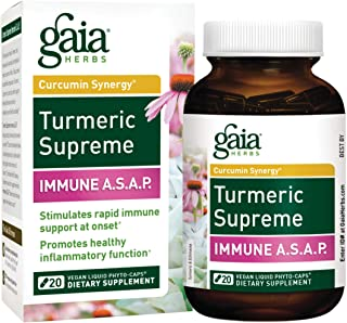 Gaia Herbs, Turmeric Supreme Immune A.S.A.P, Turmeric Curcumin Immune Support with Echinacea, Sambucus Black Elderberry, Ginger Root, Vegan Liquid Capsules, 20 Count