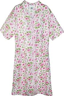 Sag Harbor Women's Short Sleeve Floral Zip Front Duster, Medium, Pink