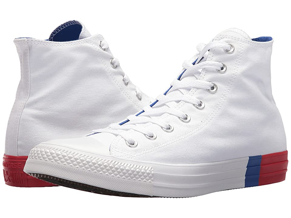 Converse Chuck Taylor(r) All Star Tri Block Midsole Hi (White/Red/Blue) Classic Shoes
