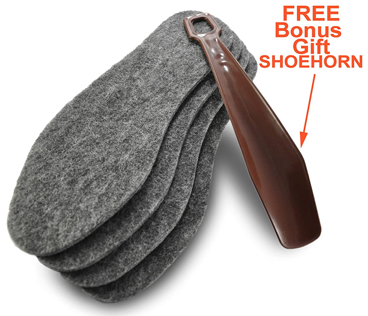 Felt Boot Insoles, Unisex Size 8M and 10W, Man, Woman, Soft Insoles, Warm Inserts, Dry Insoles, Winter Shoes Insoles, 4 mm Thick Footwear Support, Gray 2 Pairs Pack, Free Brown Shoe Horn Gift, 803228