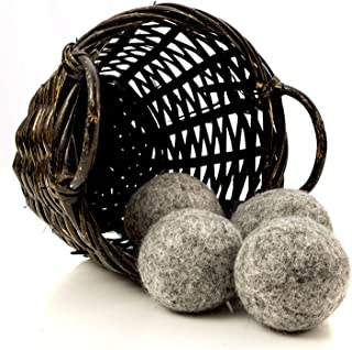 Kitchow Organic Dark Wool Dryer Balls, 4-Pack - Made for Drying Colors/Darks - Natural Ecofriendly Fabric Softener - Reusa...