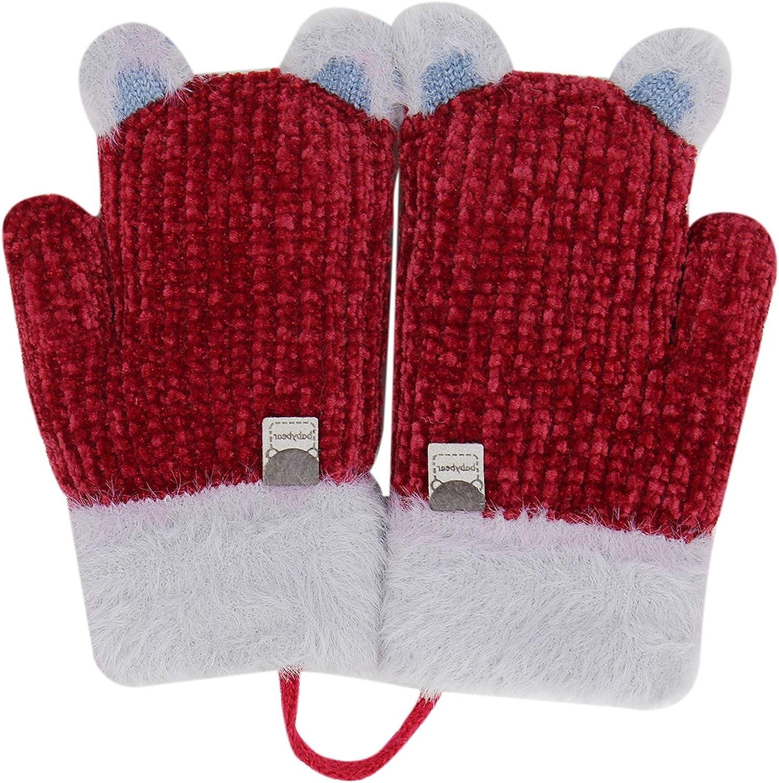 Toddler Kids Winter Warm Knit Mittens with String Plush Fleece lined Cartoon Bear Ears Gloves for Girls Boys
