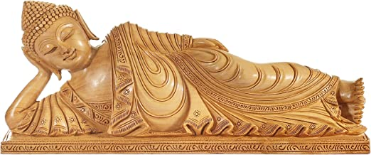 Parinirvana Buddha in a Superfine Pleated Robe - Wood Statue