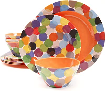 Gibson Overseas, Inc. Gibson Studio 94911.12 Party 12 Piece Melamine Dinnerware, Rainbow Circles