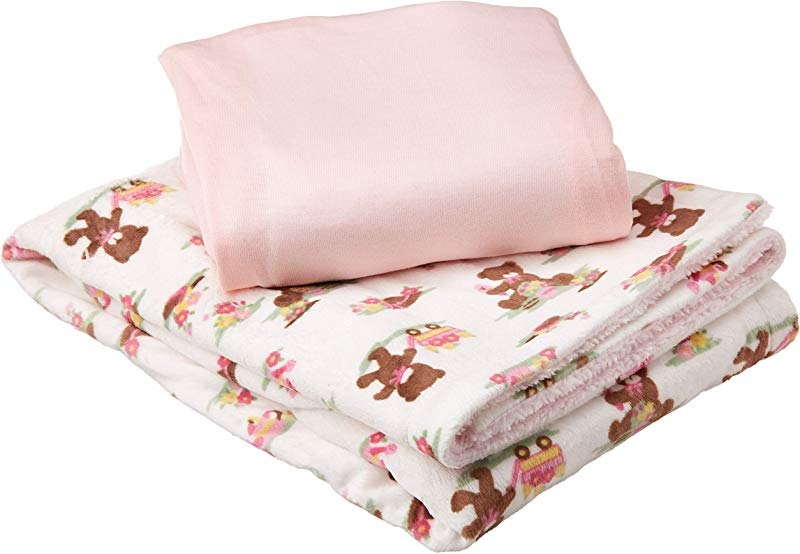 My Baby Toddler Girls Bear Wagon Printed Mink Reversed Coral Fleece With Cotton Sheet Crib Bedding Set Pink