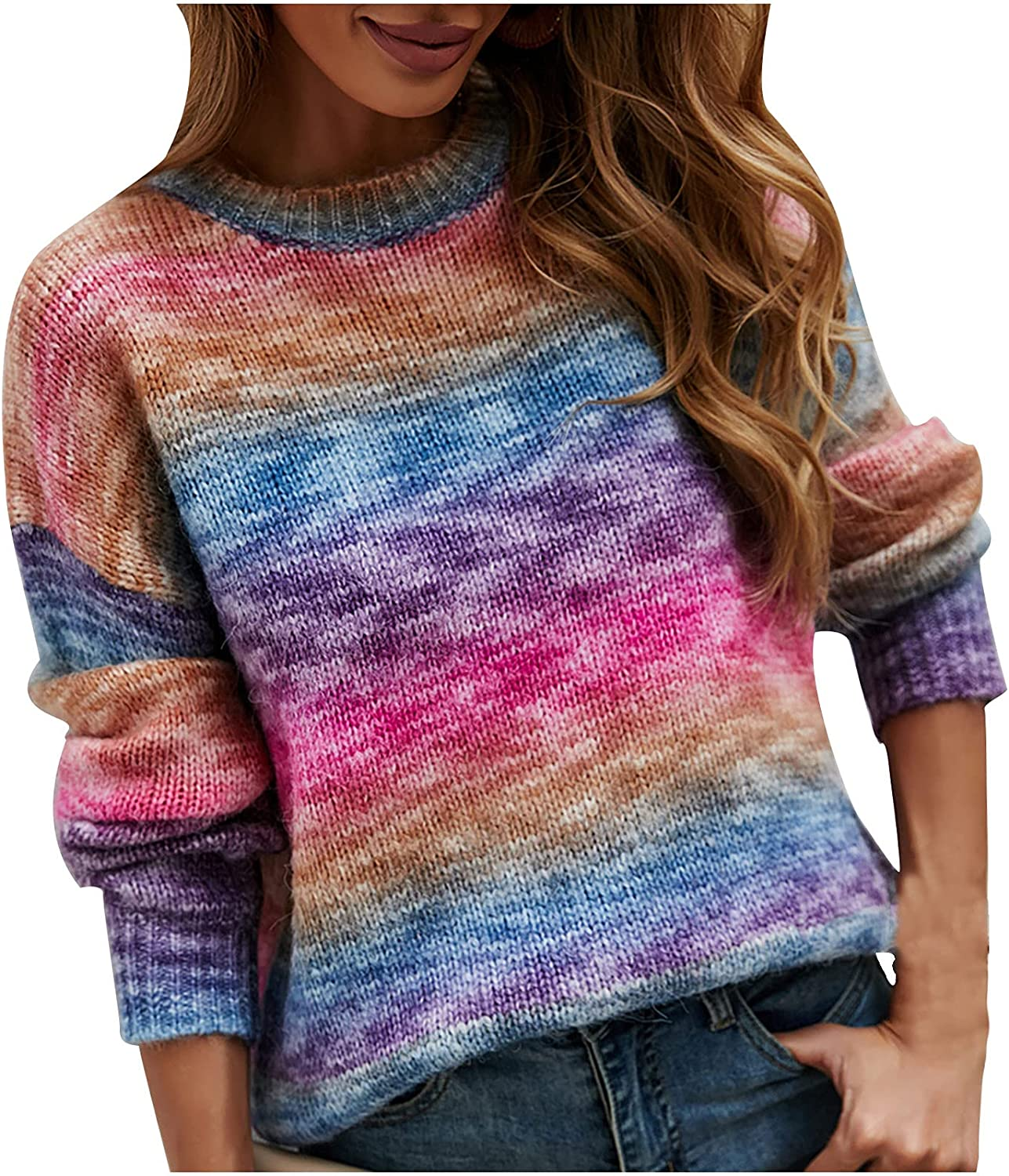Women's Long Sleeve Sweater Tops Loose Crew Neck Striped Color Block Casual Knitted Pullover Sweatshirt Fashion Blouse
