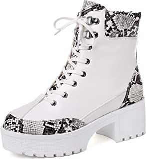 vivanly Fashion Women Winter PU Leather Lace Up Combat Boots Chunky Lug Platform Block Heel Snake Pattern Military Ankle Booties