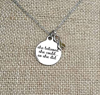 She Believed She Could So She Did Awareness Necklace with Ribbon Charm Non Tarnish Jewelry