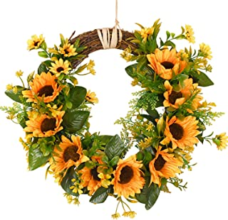 Artificial Sunflower Wreath Flower Wreath with Yellow Sunflower and Green Leaves for Front Door Indoor or Outdoor Wall Wedding Home Decoration, 13.8