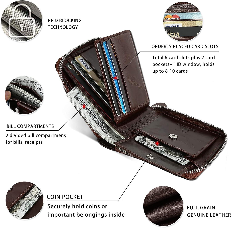 Slim Zipper Wallets For Men RFID Leather Mens Bifold Creidt Card Holder Zip Around Wallet With Coin Pocket