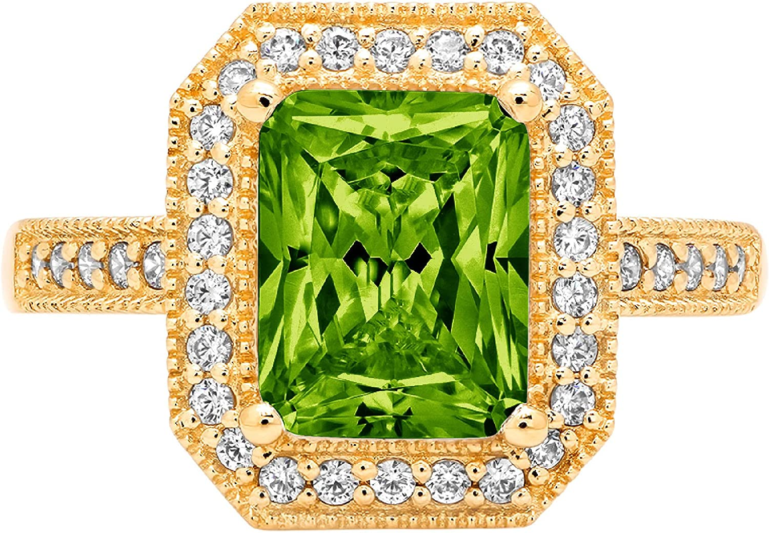 Clara Pucci 2.94 Brilliant Emerald Cut Solitaire Accent Halo Stunning Genuine Flawless Natural Green Peridot Gem Designer Modern Ring Solid 18K Yellow Gold