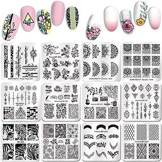 Born Pretty 10 piezas Nail Arte Estampación placas Set animales flores de leopardo platos de postre Manicura imagen Juego ...