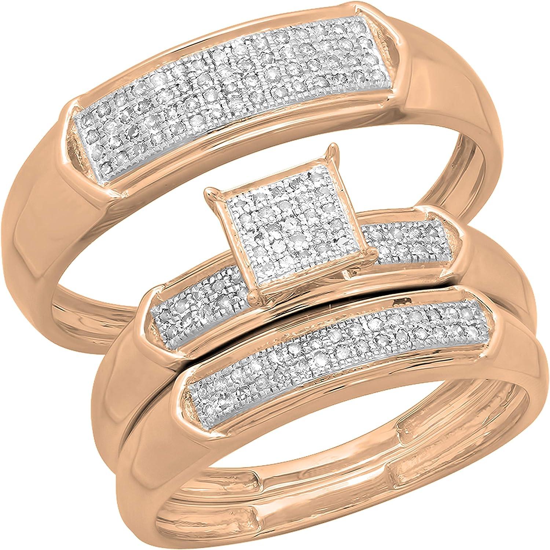 Dazzlingrock Collection 0.30 Carat (ctw) Round White Diamond Men & Women's Micro Pave Trio Bridal Wedding Set 1/3 CT, 10K Rose Gold