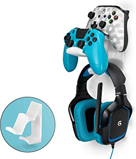 $22 » The UberAtlas - Dual Game Controller & Headphone Stand Wall Mount Holder for Xbox ONE, Series X, PS5, PS4, PS3, Switch, STEELSERIES Gamepad & More, Stay Organized No Screws by Brainwavz (Frosty)